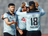 England's Mark Wood celebrates taking the wicket of India's Prasidh Krishna on March 28, 2021