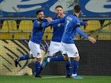 Italy's Domenico Berardi celebrates scoring against Northern Ireland on March 25, 2021