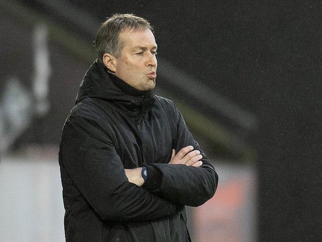 Denmark coach Kasper Hjulmand reacts on March 28, 2021