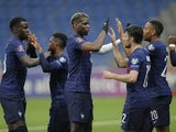 France players celebrate Ousmane Dembele's goal against Kazakhstan on March 28, 2021