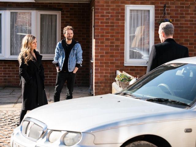 Sarah, David and Nick on Coronation Street on April 9, 2021
