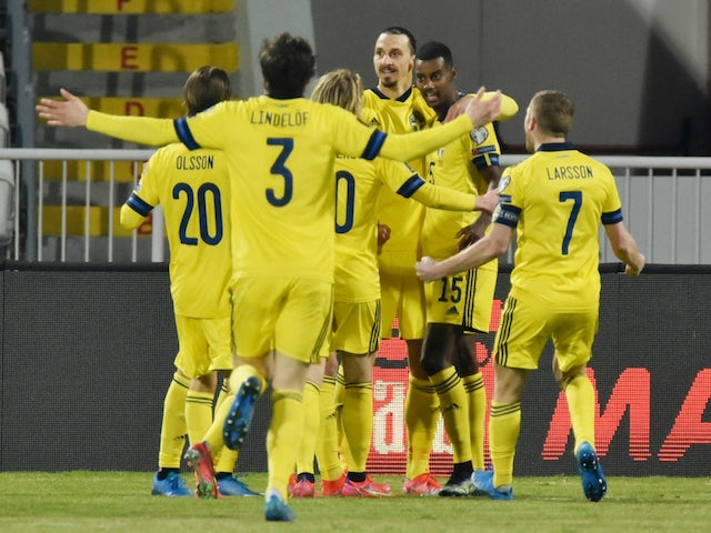Sweden's Viktor Claesson celebrates scoring their first goal with teammates on March 28, 2021