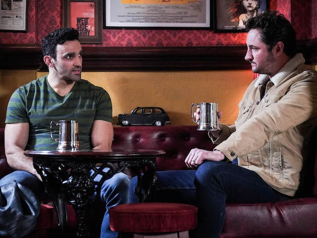 Kush and Martin on EastEnders on April 9, 2021