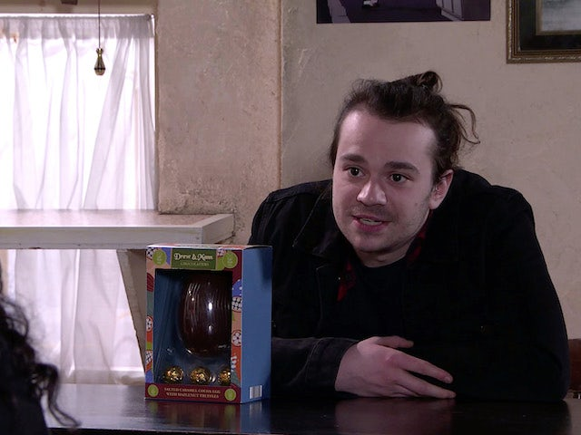 Seb on the first episode of Coronation Street on April 5, 2021