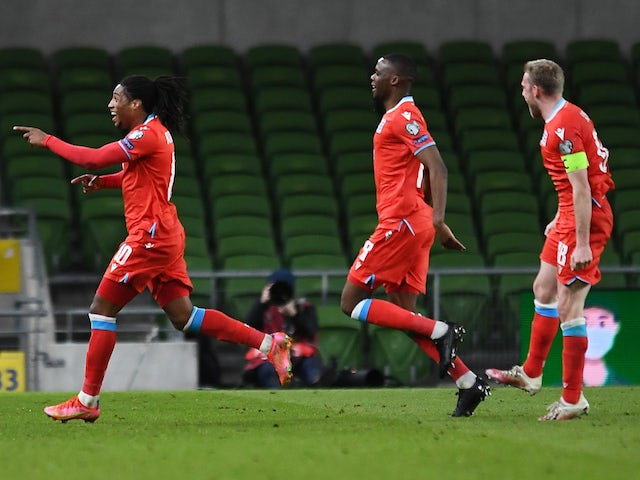 Luxembourg's Gerson Rodrigues celebrates scoring their first goal on March 27, 2021