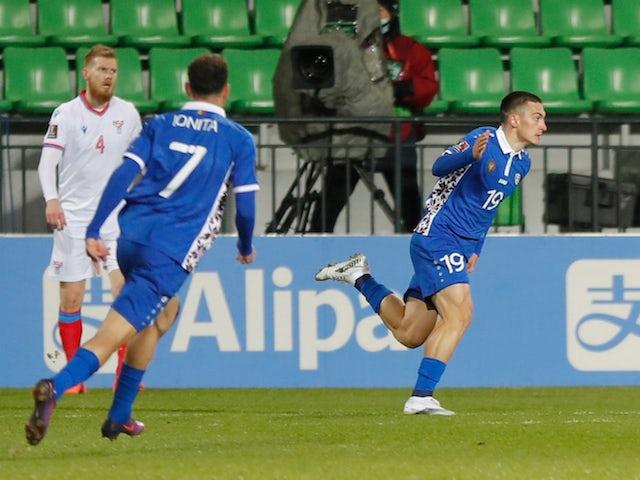 Moldova's Ion Nicolaescu celebrates scoring their first goal on March 25, 2021