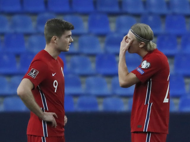 Norway's Erling Haaland looks dejected during the match on March 27, 2021