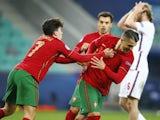 Portugal Under-21s forward Dany Mota celebrates scoring against England Under-21s on March 28, 2021