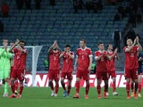 Russia players applaud the fans after the match on March 27, 2021