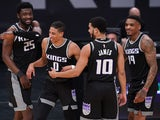 Sacramento Kings guard Tyrese Haliburton pictured with teammates on March 25, 2021