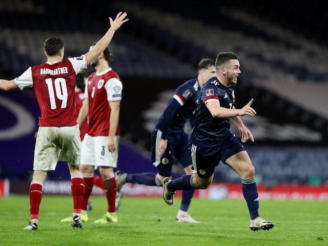 Scotland's John McGinn celebrates scoring against Austria on March 25, 2021
