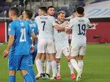 Scotland's Ryan Fraser celebrates scoring their first goal with teammates on March 28, 2021