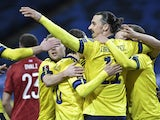 Sweden's Zlatan Ibrahimovic celebrates a goal during the clash with Georgia on March 25, 2021
