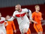Turkey's Burak Yilmaz celebrates scoring against the Netherlands on March 24, 2021