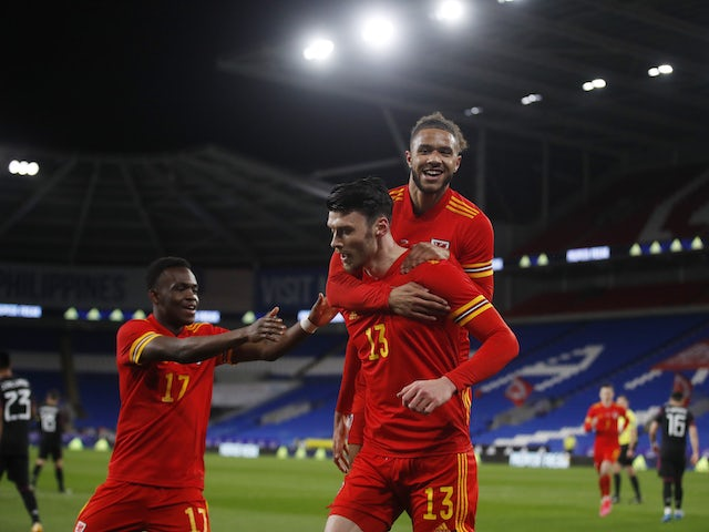 Wales' Kieffer Moore celebrates scoring their first goal on March 27, 2021