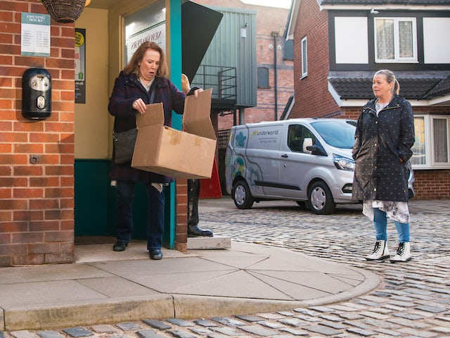 Cathy and Bernie on the first episode of Coronation Street on April 12, 2021