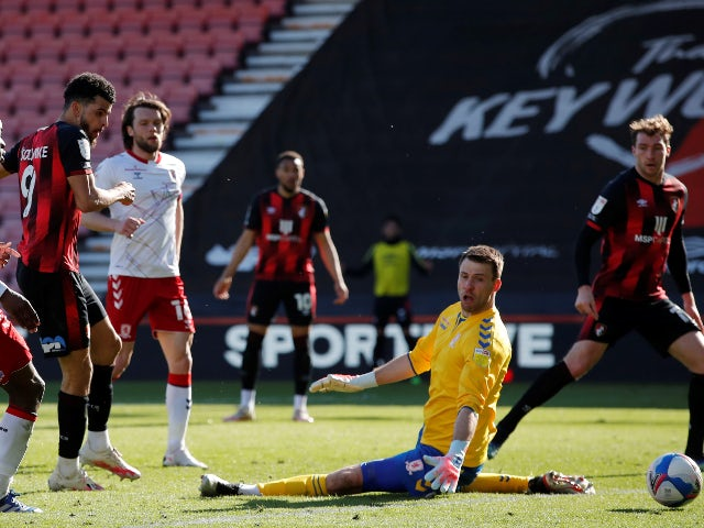 Bournemouth's Dominic Solanke scores their third goal against Middlesbrough in the Championship on April 2, 2021