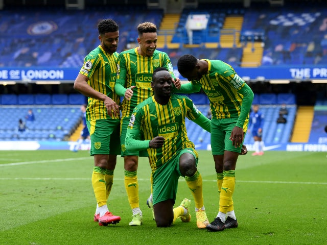West Bromwich Albion's Mbaye Diagne celebrates scoring their fourth goal against Chelsea in the Premier League on April 3, 2021