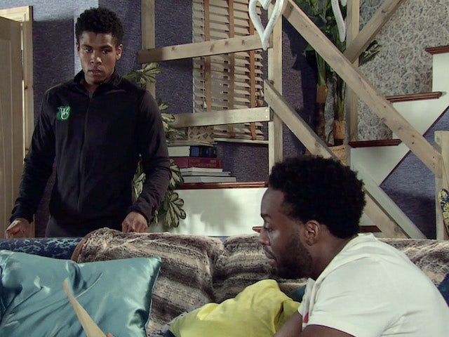 James and Michael on the first episode of Coronation Street on April 12, 2021