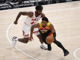 Chicago Bulls forward Patrick Williams fouls Utah Jazz guard Donovan Mitchell on April 3, 2021
