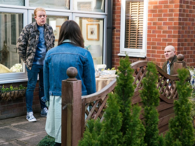 Craig, Faye and Tim on Coronation Street on April 16, 2021