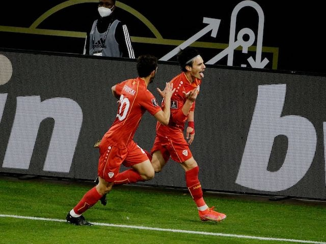 North Macedonia's Eljif Elmas celebrates scoring against Germany on March 31, 2021
