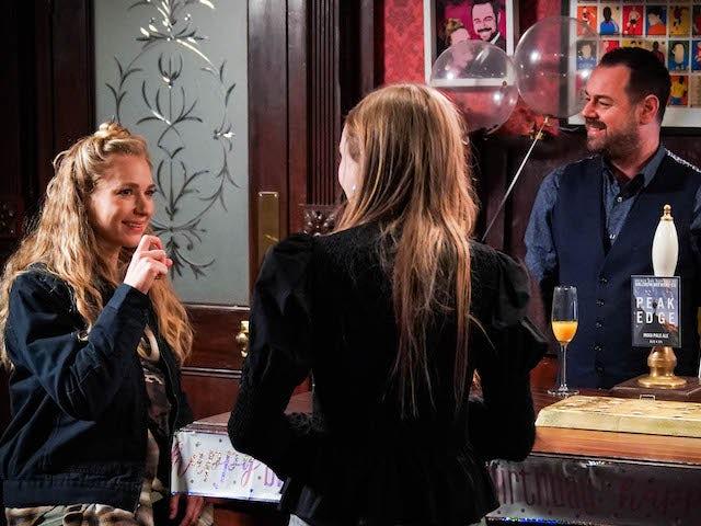 Nancy, Mick and Frankie on EastEnders on April 13, 2021