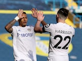 Leeds United's Raphinha and Jack Harrison celebrate their second goal against Sheffield United in the Premier League on April 3, 2021