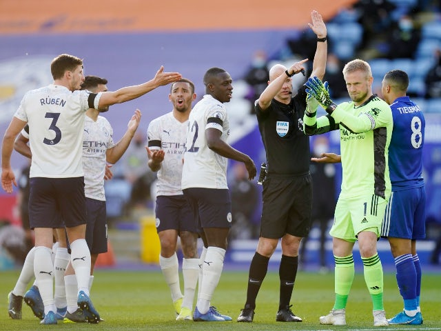Leicester City and Manchester City players react after Fernandinho's goal is disallowed in the Premier League on April 3, 2021