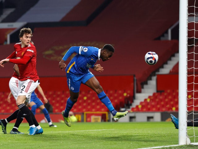 Danny Welbeck scores for Brighton & Hove Albion against Manchester United in the Premier League on April 4, 2021