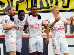 Nimes Olympique's Renaud Ripart celebrates scoring their second goal against Lille in March 2021