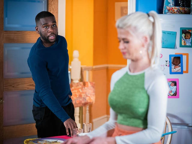 Isaac and Lola on EastEnders on April 15, 2021