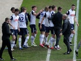 Preston North End's Brad Potts celebrates with teammates after scoring against Norwich City in the Championship on April 2, 2021