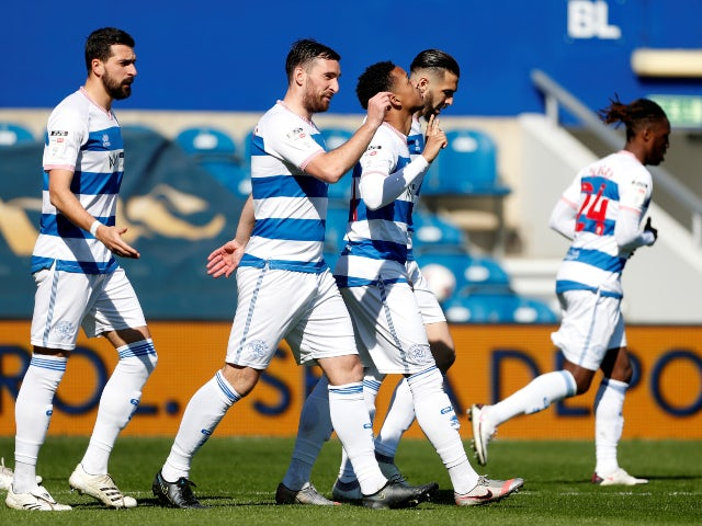 Queens Park Rangers' Chris Willock celebrates scoring their first goal against Coventry City in the Championship on April 2, 2021