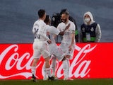 Real Madrid's Karim Benzema celebrates scoring their second goal against Eibar in La Liga on April 3, 2021