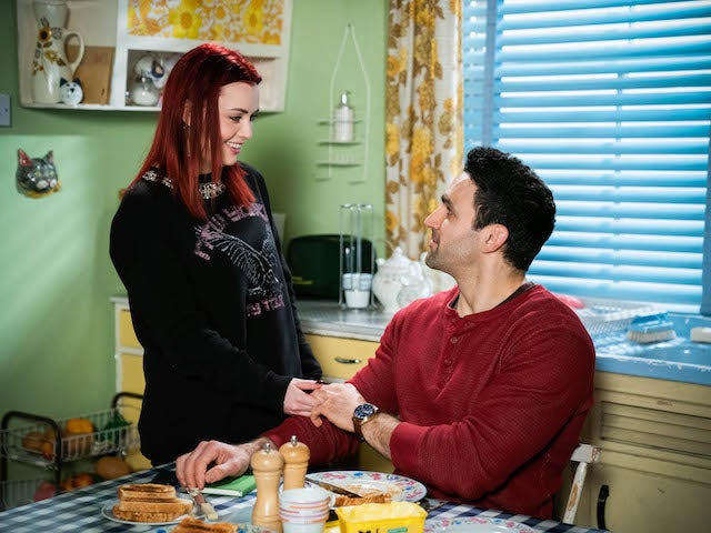 Whitney and Kush on EastEnders on April 12, 2021
