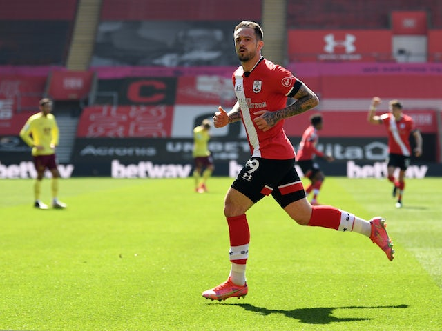 Southampton's Danny Ings celebrates scoring against Burnley in the Premier League on April 4, 2021