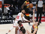 Utah Jazz forward Bojan Bogdanovic puts up a shoot in the fourth quarter against the Chicago Bulls on April 3, 2021