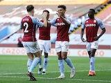 Aston Villa's Ollie Watkins celebrates scoring against Fulham in the Premier League on April 4, 2021
