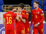 Wales' Daniel James celebrates scoring their first goal against the Czech Republic in World Cup Qualifying on March 30, 2021