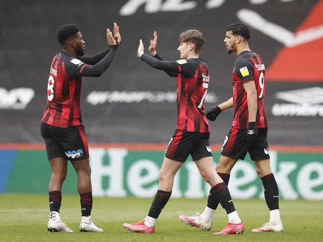 Bournemouth's David Brooks celebrates scoring their third goal with teammates on April 10, 2021