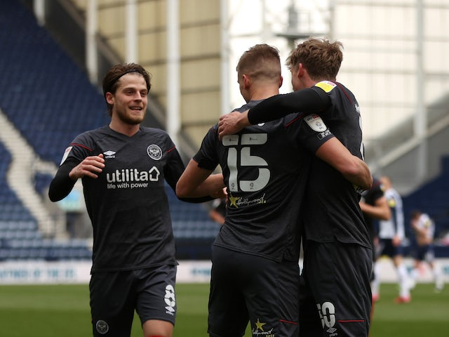 Brentford's Marcus Forss celebrates scoring their second goal with teammates on April 10, 2021