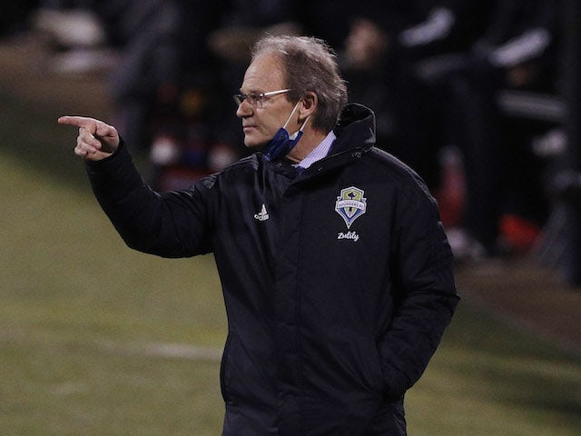 Seattle Sounders head coach Brian Schmetzer against the Columbus Crew in the first half during the 2020 MLS Cup Final at MAPFRE Stadium in December 2020