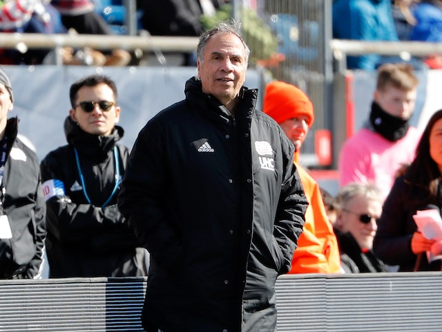 New England Revolution coach Bruce Arena during the first half against the Chicago Fire at Gillette Stadium in March 2020