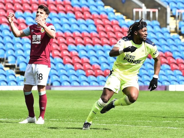 Newcastle United's Allan Saint-Maximin celebrates scoring against Burnley in the Premier League on April 11, 2021