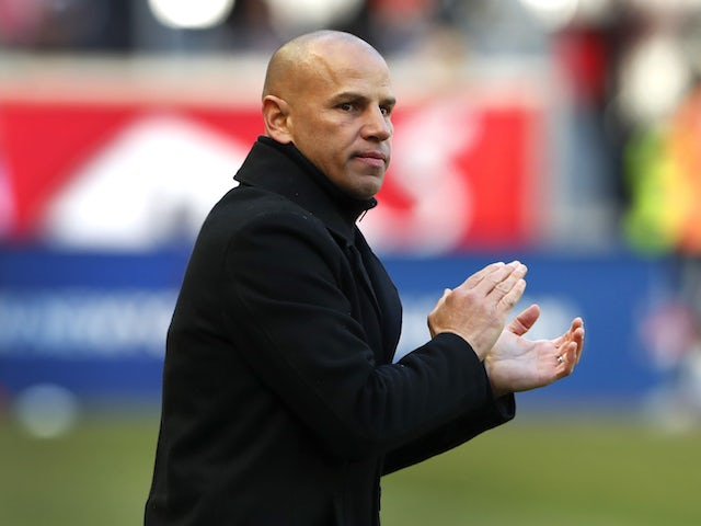New York Red Bulls head coach Chris Armas reacts after a goal against FC Cincinnati during the second half at Red Bull Arena in March 2020