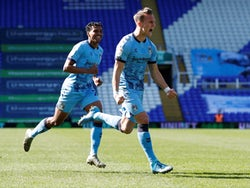 Coventry City's Leo Ostigard celebrates scoring their first goal against Bristol City in the Championship on April 5, 2021
