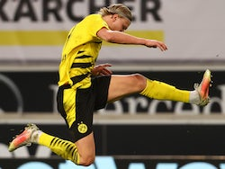 Erling Braut Haaland in action for Borussia Dortmund on April 10, 2021