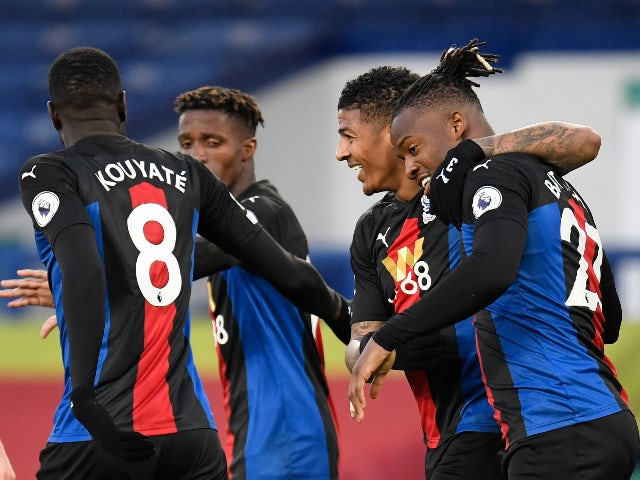 Crystal Palace's Michy Batshuayi celebrates scoring their first goal against Everton in the Premier League on April 5, 2021