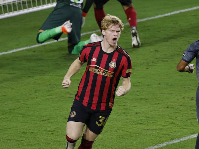 Atlanta United midfielder Jackson Conway (36) celebrates after scoring a goal against Club America in the second half during the 2020SCCL quarterfinals at Exploria Stadium in December 2020